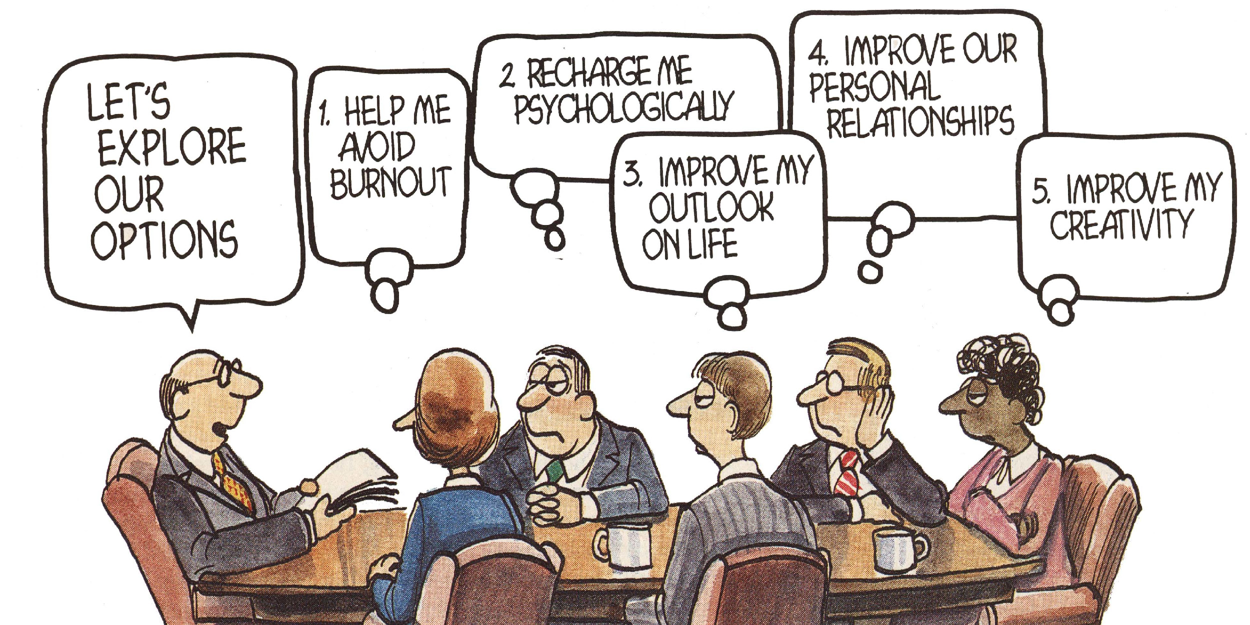 Cartoon emplpoyees discuss the importance of good executive leadership